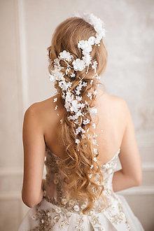 """Ozdoby do vlasov - Zapletacia aplikácia do vlasov """"v bielych perinách"""" - možnosť kúpiť aj ako set - 12879241_"""