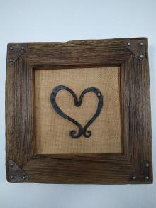 Obrazy - Obraz s rámom zo starého dreva - kované srdce - 12880403_