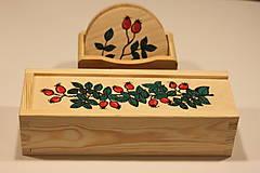 Krabičky - Drevená ručne maľovaná krabička na hodinky ŠÍPKY - 12882685_
