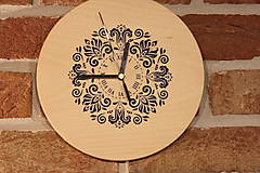 Hodiny - Drevené hodiny z bukového dreva Mandala FOLKLÓR - 12883462_