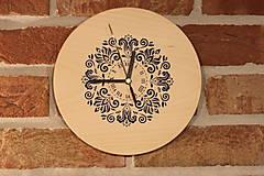 Hodiny - Drevené hodiny z bukového dreva Mandala FOLKLÓR - 12883467_