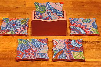 Pomôcky - Drevené maľované podšálky / podpivníky HIPPIE - 12882330_