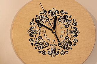 Hodiny - Drevené hodiny z bukového dreva Mandala FOLKLÓR - 12883476_