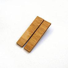 Náušnice - Drevené náušnice klipsňové - dubové obdĺžniky - 12884293_