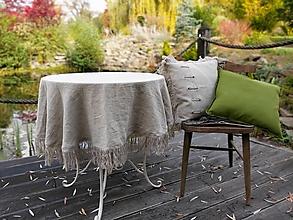 Úžitkový textil - Okrúhly ľanový obrus Rough Look - 12884547_