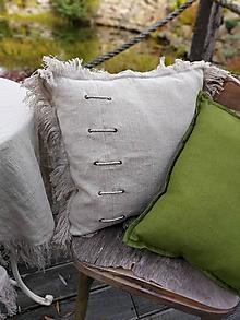 Úžitkový textil - Ľanová obliečka na vankúš Welcome Home - 12884569_