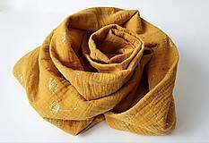 Šály - TUNELOVÝ NÁKRČNÍK - žltá farba so zlatou potlačou púpav) - 12887874_