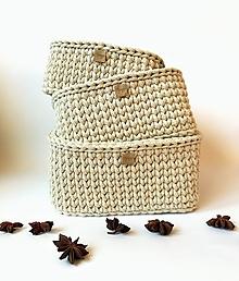 Dekorácie - Košík štvorcový biela káva. - 12886661_