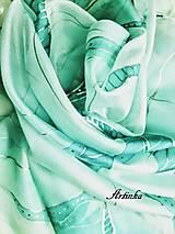 Šatky - Šatka hodvábna - tyrkysový abstrakt - 12887086_
