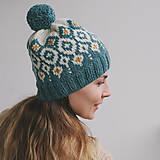 Čiapky - tyrkysová čiapka s nórskym vzorom - 12888278_