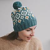 Čiapky - tyrkysová čiapka s nórskym vzorom - 12888280_