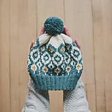Čiapky - tyrkysová čiapka s nórskym vzorom - 12888281_