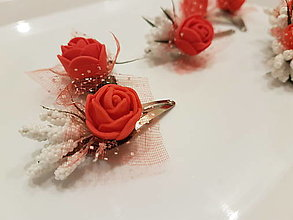 Ozdoby do vlasov - Red rose sponka/pukačka - 12889232_