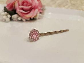 Ozdoby do vlasov - Sponka - malý ružový diamant - 12889305_