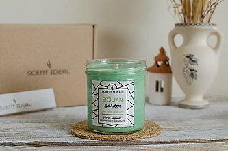 Svietidlá a sviečky - Citrusová záhrada, Vonná sviečka zo sójového vosku, Svieža Darčeková sviečká, Sviečka pre milovníkov Talianska - 12885273_