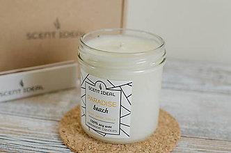 Svietidlá a sviečky - Rajská pláž, Sójová sviečka s osviežujúcou vôňou, Valentínový darček pre ňu, Prírodná sviečka. - 12885292_