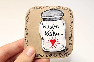 Brošne - Drevená brošňa Láska - 12889414_