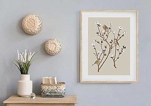 Grafika - SPARROW ON COTTON PLANT 1 - 12886579_