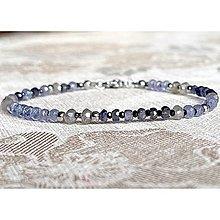 Náramky - Luxury Micro Faceted Gemstone Stainless Steel Bracelet / Náramok brúsený iolit, tanzanit, spinel, labradorit (chir.oceľ) - 12893098_