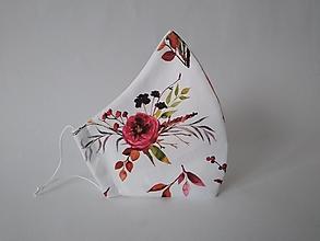 Rúška - Trojvrstvové dámske rúško Georgína biela prémiová bavlna antibakteriálne s časticami striebra tvarované - 12892541_