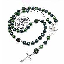 Náhrdelníky - Ruženec perl. so shamballa  (Zelený mix) - 12891610_