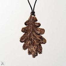 Náhrdelníky - medený dubový list (4x6 cm) - 12894348_