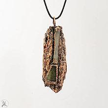 Náhrdelníky - prívesok - medené drevo s vltavínom a selenitom a - 12894390_