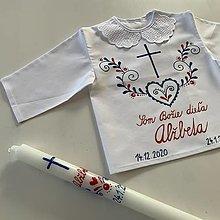 Detské oblečenie - Krstná maľovaná ľudovoladená košieľka + svieca - 12890658_