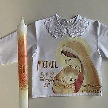 Detské oblečenie - Maľovaná krstná košieľka s bábätkom v náručí Panny Márie v bronzovo zlatej - 12890768_