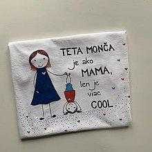 Tričká - Originálne maľované tričko pre KRSTNÚ/ KRSTNÉHO s 2 postavičkami (teta + dievčatko) - 12894402_