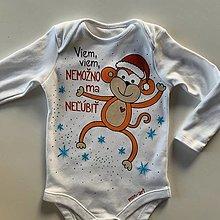 """Detské oblečenie - Originálne maľované body s veselou opicou a nápisom: """"Nemožno ma neľúbiť!"""" - 12894442_"""