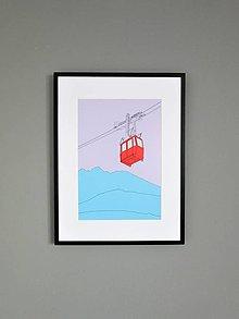 Grafika - Lanovka na Lomnický štít (print) (A4) - 12892610_