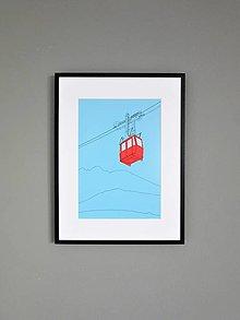 Grafika - Lanovka na Lomnický štít (print) - 12892635_