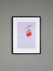 Grafika - Lanovka na Lomnický štít (print) - 12892668_