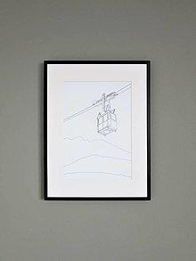 Grafika - Lanovka na Lomnický štít ČB (print) - 12892679_
