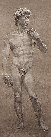 Kresby - Dávid - Kresba sochárskeho diela Michelangela Buonarotiho - 12890087_