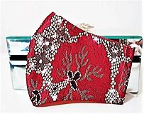 Rúška - Rúško červený lesklý brokát - 12894614_