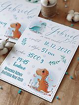 Tabuľka pre bábätko s údajmi o narodení dinko
