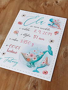 Detské doplnky - Tabuľka pre bábätko s údajmi o narodení veľryby - 12898198_
