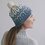 Čiapky - modro-smotanová s nórskym vzorom - 12896786_