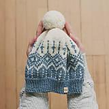 Čiapky - modro-smotanová s nórskym vzorom - 12896789_