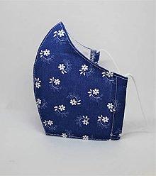 Rúška - Tvarované rúško na tvár  - tradičné kvety, modrotlač - 12897119_