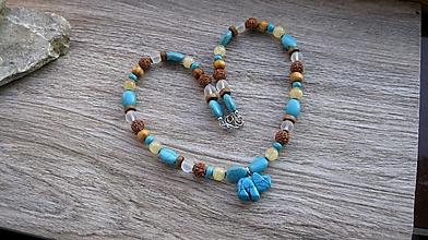 Náhrdelníky - Náhrdelník s minerálmi a sloníkom, č. 3350 - 12897032_