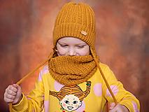 Detské čiapky - Čiapka na zimu pre deti 100% merino (Preložený lem s uškami) - 12898297_