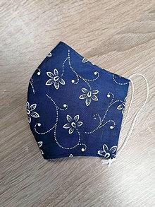 Rúška - Modrotlačové rúško 2-vrstvové DÁMSKE - 12894958_