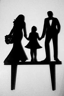 Dekorácie - Zápich - pár s dievčatkom - 12894709_