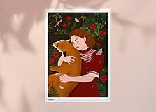Grafika - S liškou - umělecký tisk - 12901039_