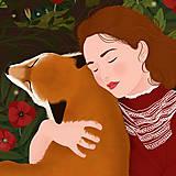 Grafika - S liškou - umělecký tisk - 12901041_