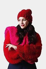 Čiapky - Čiapka červená s brmbolcom voľná - 12902243_
