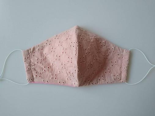 Dizajnové rúško ružové romantické s madeirou dvojvrstvové  tvarované